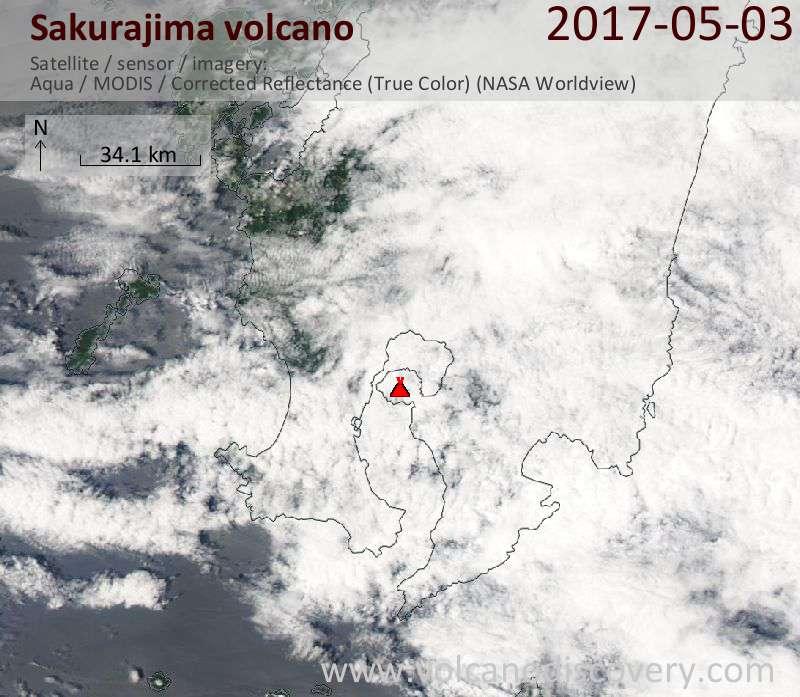 Satellite image of Sakurajima volcano on  3 May 2017