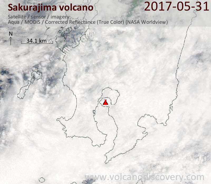 Satellite image of Sakurajima volcano on 31 May 2017