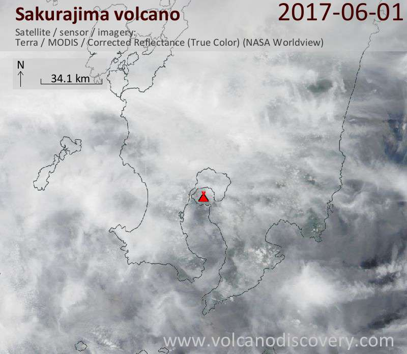 Satellite image of Sakurajima volcano on  1 Jun 2017