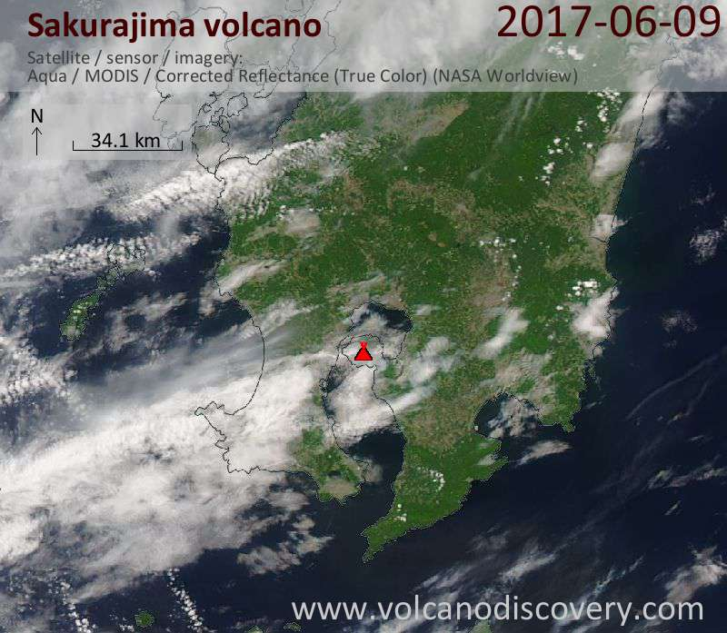 Satellite image of Sakurajima volcano on 10 Jun 2017
