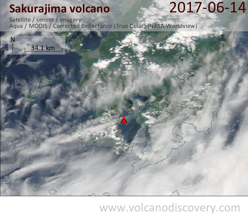 Satellite image of Sakurajima volcano on 15 Jun 2017