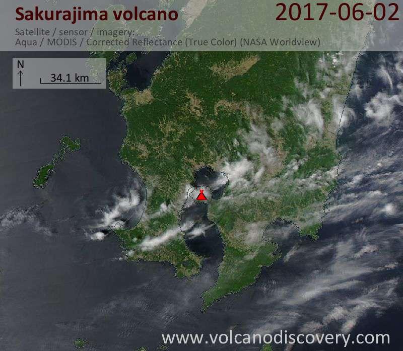 Satellite image of Sakurajima volcano on  2 Jun 2017