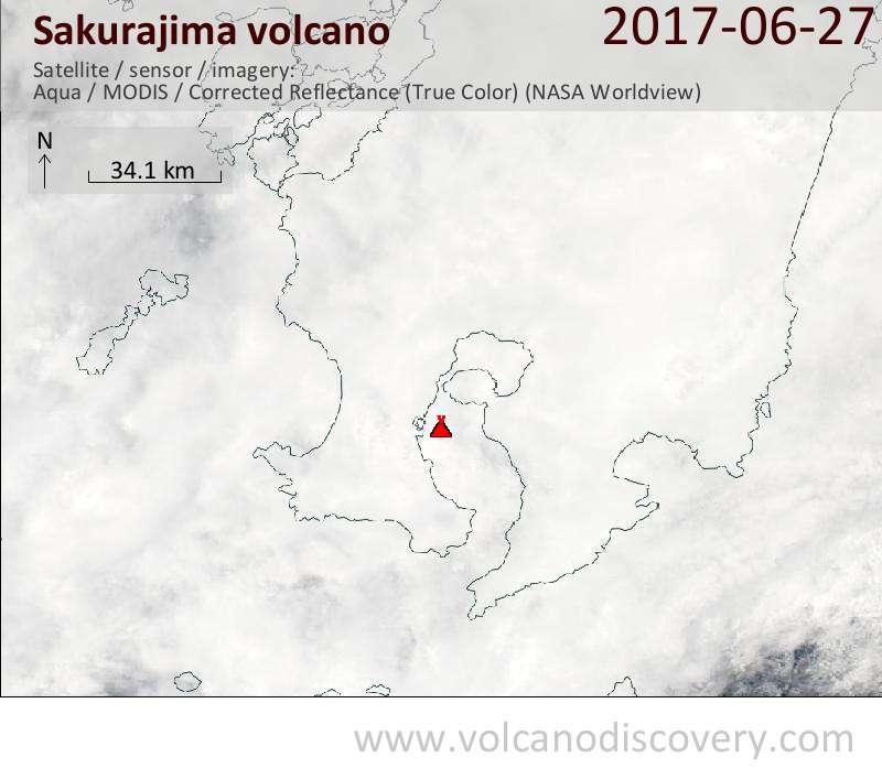 Satellite image of Sakurajima volcano on 27 Jun 2017