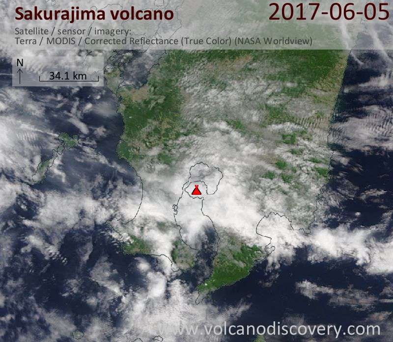 Satellite image of Sakurajima volcano on  5 Jun 2017