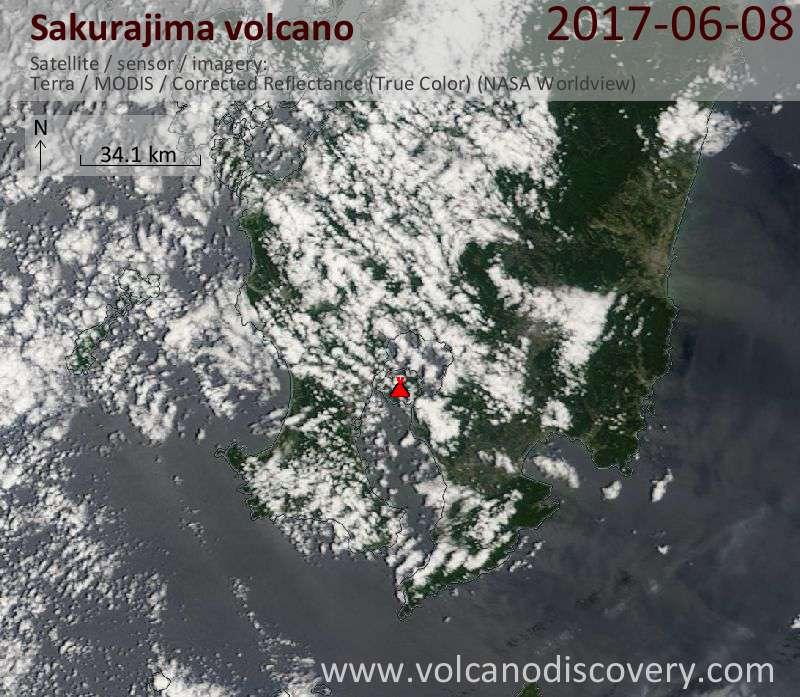 Satellite image of Sakurajima volcano on  8 Jun 2017