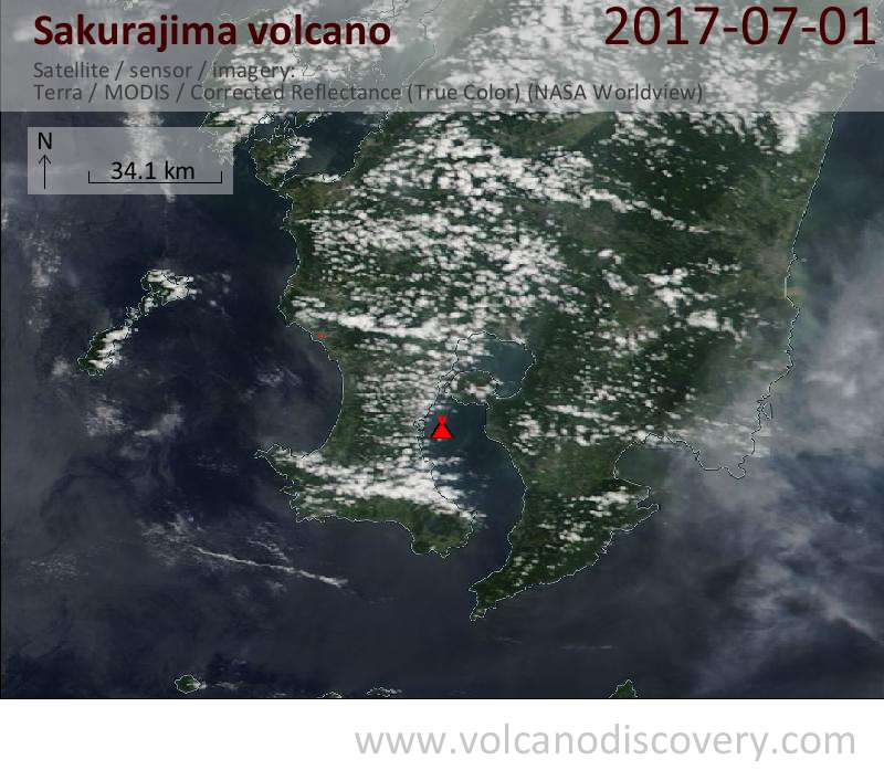 Satellite image of Sakurajima volcano on  1 Jul 2017