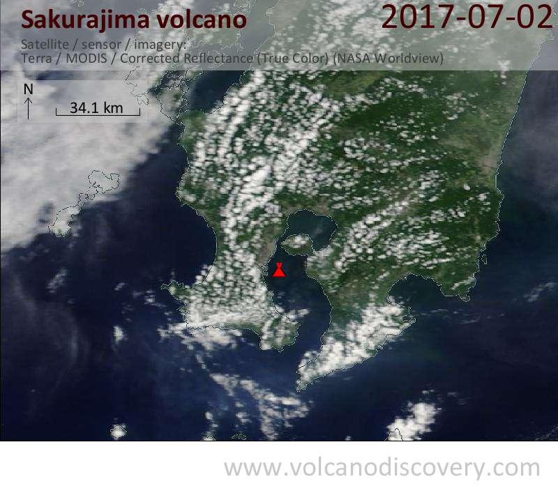 Satellite image of Sakurajima volcano on  2 Jul 2017