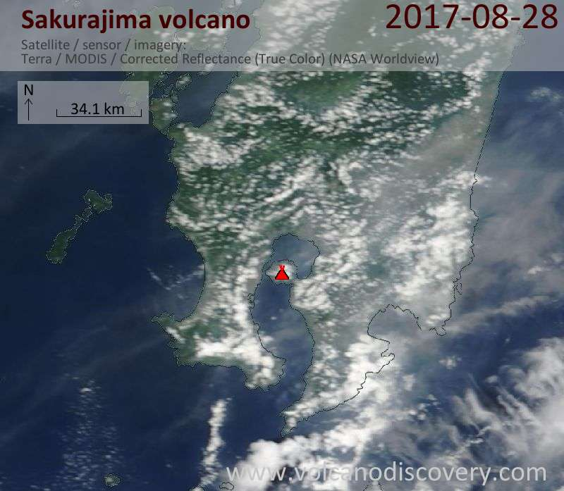 Satellite image of Sakurajima volcano on 28 Aug 2017