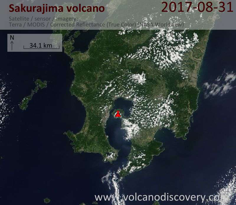 Satellite image of Sakurajima volcano on 31 Aug 2017