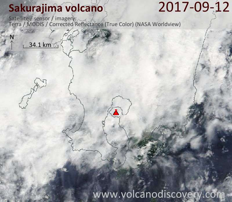 Satellite image of Sakurajima volcano on 12 Sep 2017