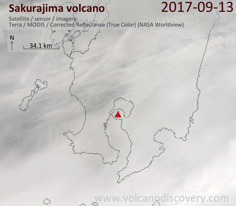 Satellite image of Sakurajima volcano on 13 Sep 2017
