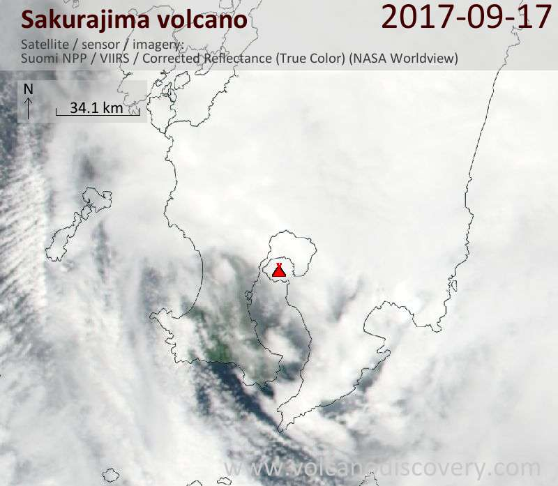 Satellite image of Sakurajima volcano on 17 Sep 2017