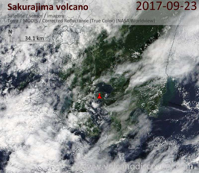 Satellite image of Sakurajima volcano on 23 Sep 2017