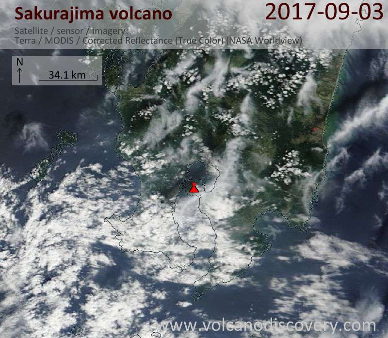 Satellite image of Sakurajima volcano on  3 Sep 2017