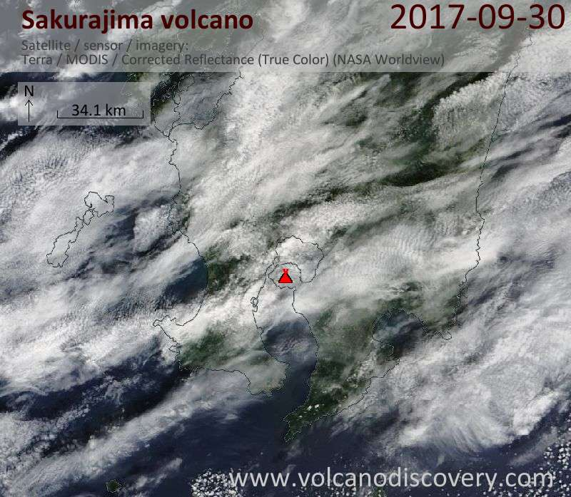 Satellite image of Sakurajima volcano on 30 Sep 2017