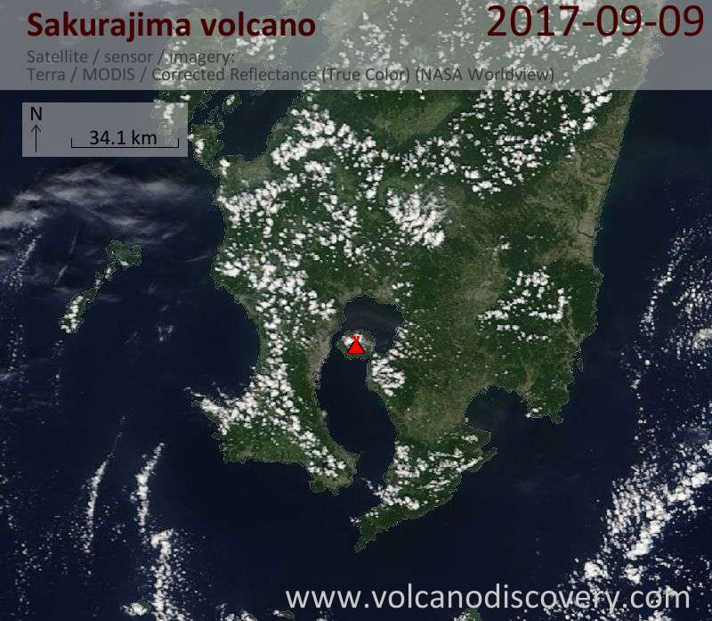 Satellite image of Sakurajima volcano on  9 Sep 2017