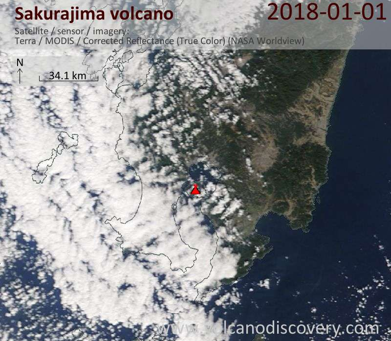 Satellite image of Sakurajima volcano on  1 Jan 2018