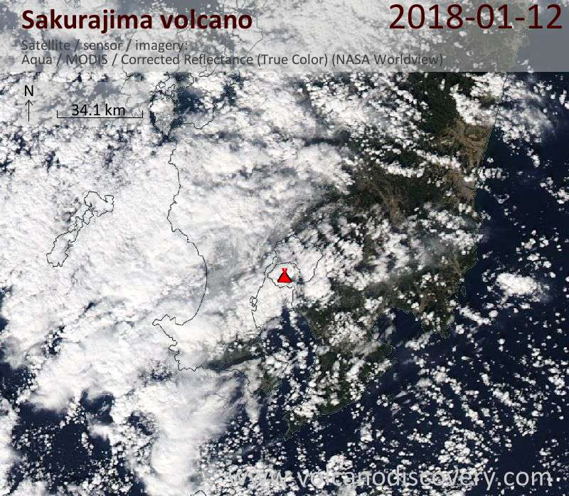 Satellite image of Sakurajima volcano on 12 Jan 2018