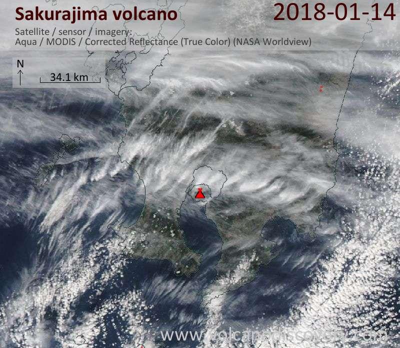 Satellite image of Sakurajima volcano on 14 Jan 2018