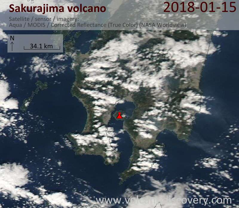 Satellite image of Sakurajima volcano on 15 Jan 2018
