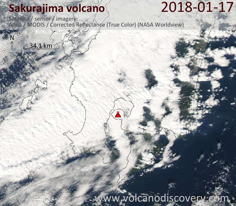 Satellite image of Sakurajima volcano on 17 Jan 2018