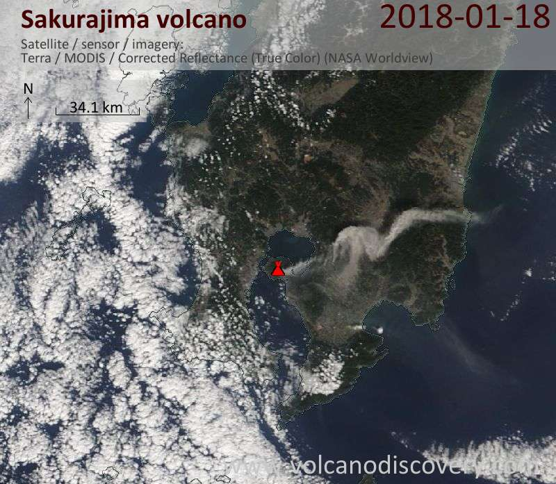 Satellite image of Sakurajima volcano on 18 Jan 2018