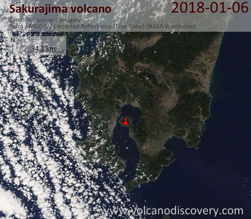 Satellite image of Sakurajima volcano on  6 Jan 2018