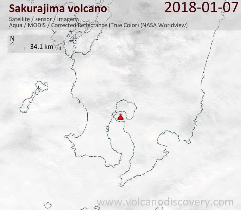 Satellite image of Sakurajima volcano on  7 Jan 2018