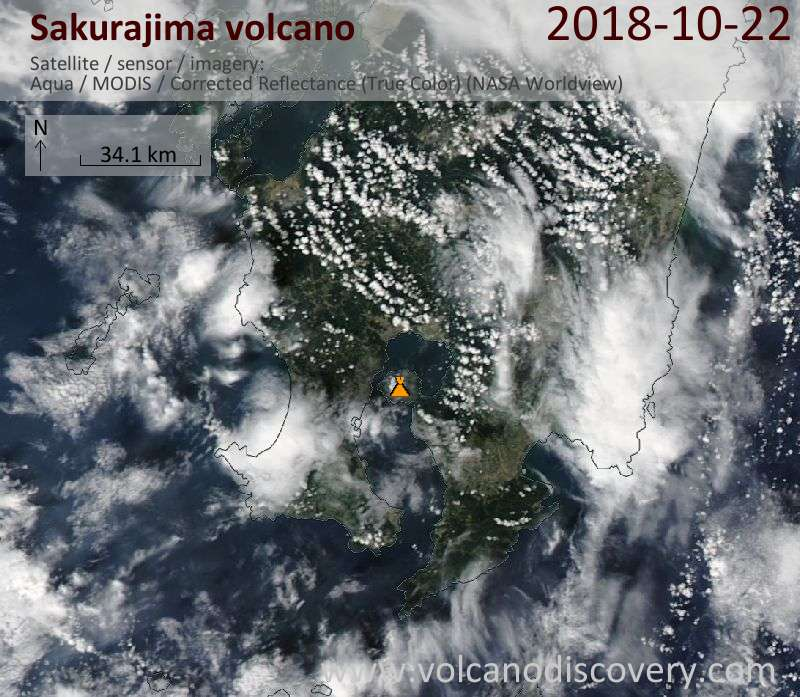 Satellite image of Sakurajima volcano on 22 Oct 2018