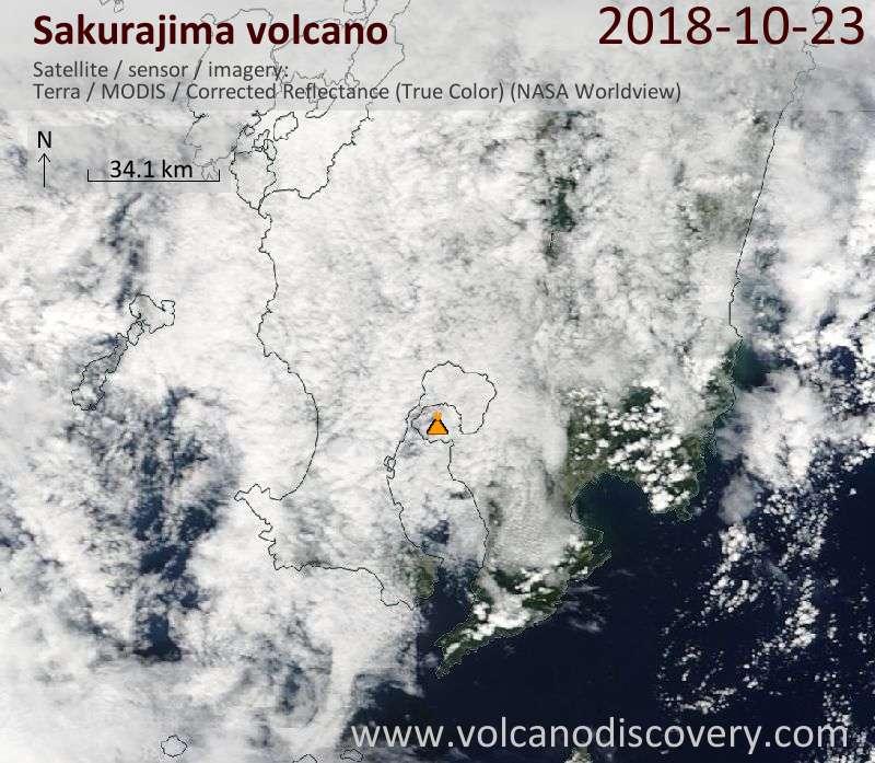 Satellite image of Sakurajima volcano on 23 Oct 2018