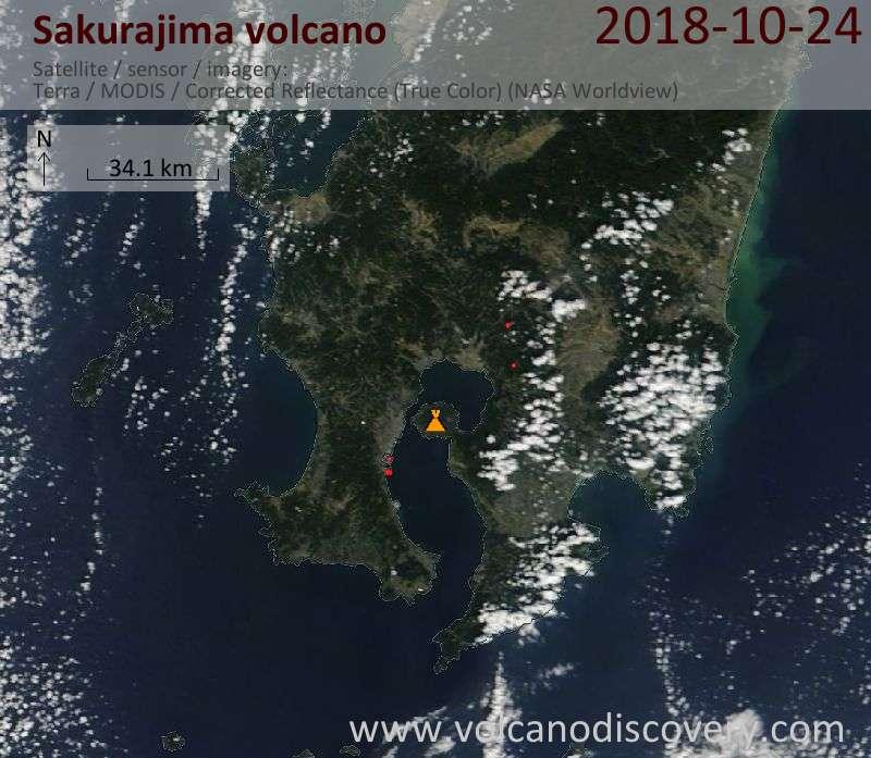 Satellite image of Sakurajima volcano on 24 Oct 2018