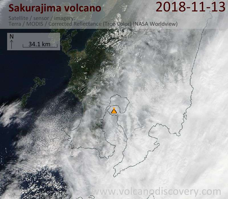 Satellite image of Sakurajima volcano on 13 Nov 2018