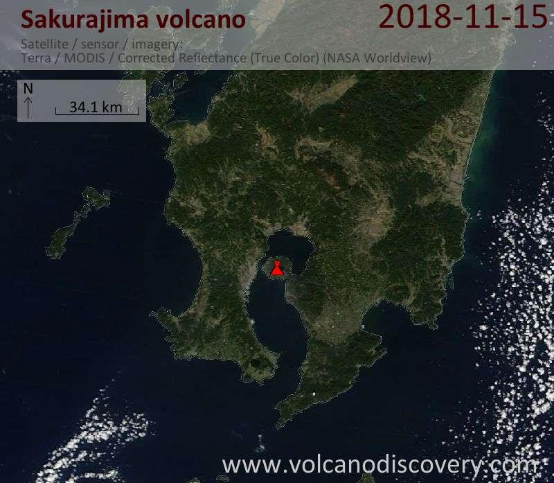 Satellite image of Sakurajima volcano on 16 Nov 2018