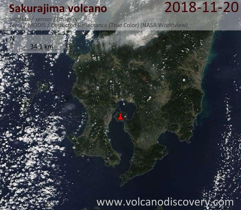 Satellite image of Sakurajima volcano on 20 Nov 2018