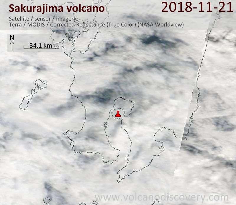 Satellite image of Sakurajima volcano on 21 Nov 2018