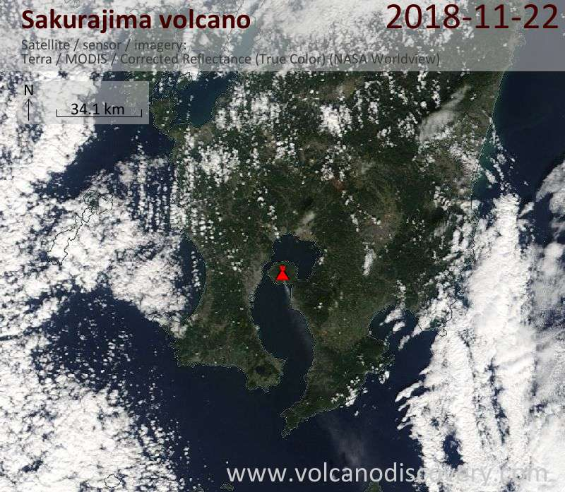 Satellite image of Sakurajima volcano on 22 Nov 2018