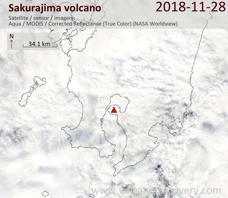 Satellite image of Sakurajima volcano on 28 Nov 2018