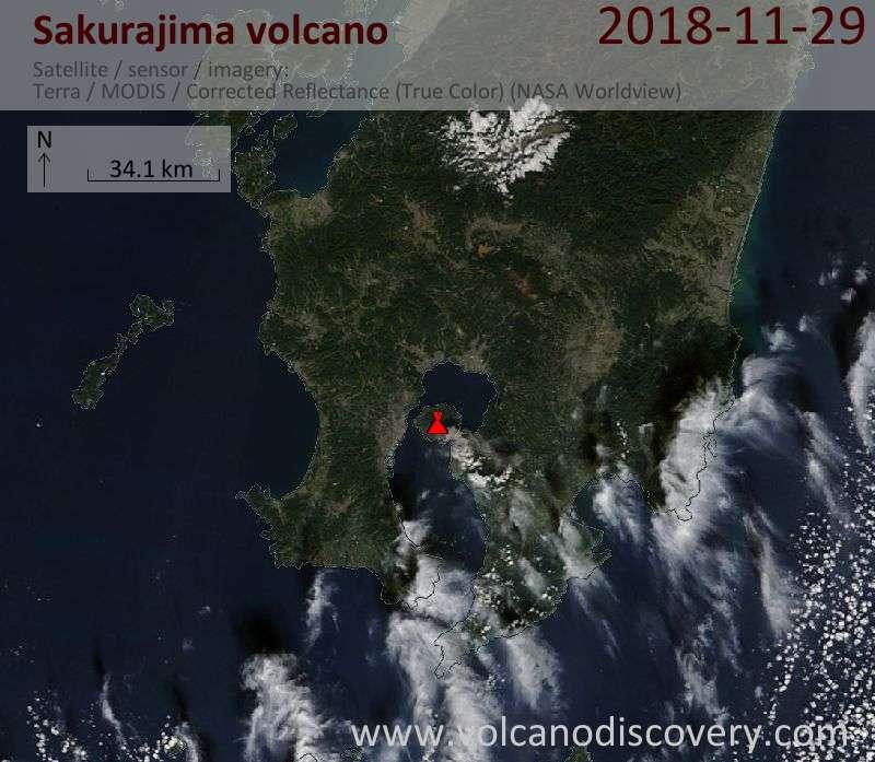 Satellite image of Sakurajima volcano on 29 Nov 2018
