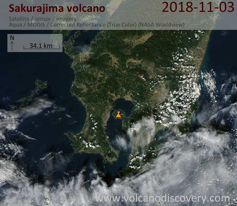 Satellite image of Sakurajima volcano on  3 Nov 2018