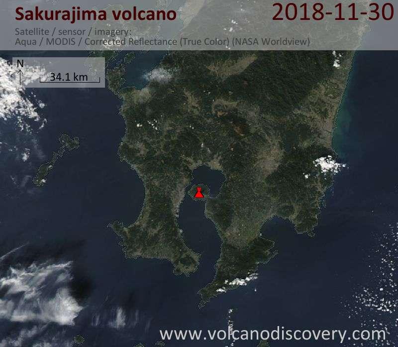 Satellite image of Sakurajima volcano on 30 Nov 2018