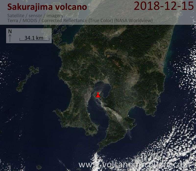 Satellite image of Sakurajima volcano on 15 Dec 2018