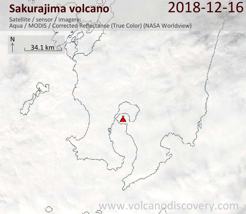Satellite image of Sakurajima volcano on 16 Dec 2018