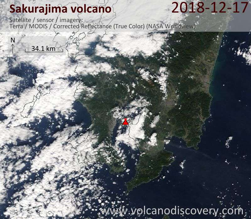 Satellite image of Sakurajima volcano on 17 Dec 2018