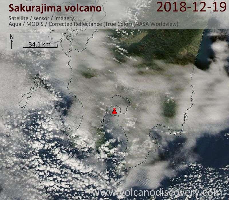 Satellite image of Sakurajima volcano on 19 Dec 2018