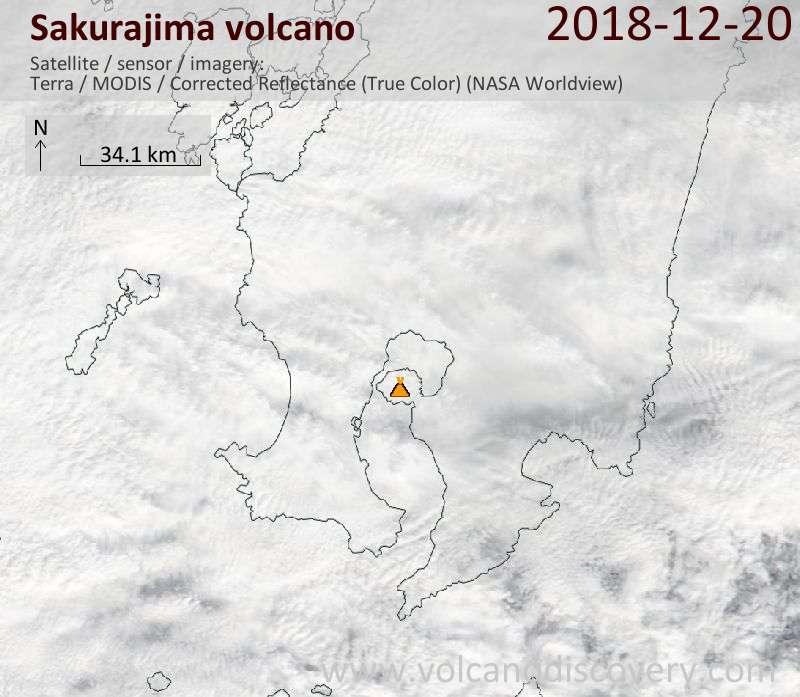 Satellite image of Sakurajima volcano on 20 Dec 2018