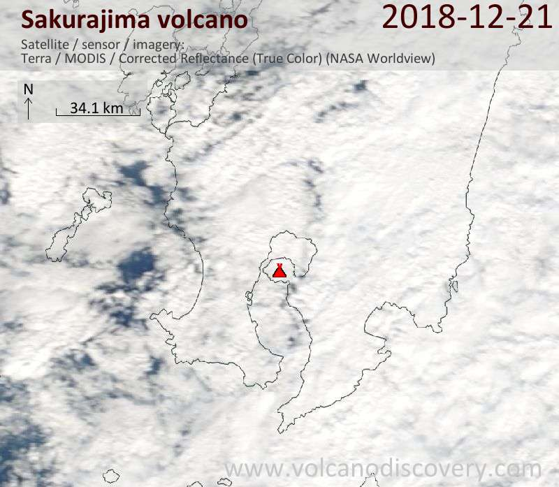 Satellite image of Sakurajima volcano on 21 Dec 2018