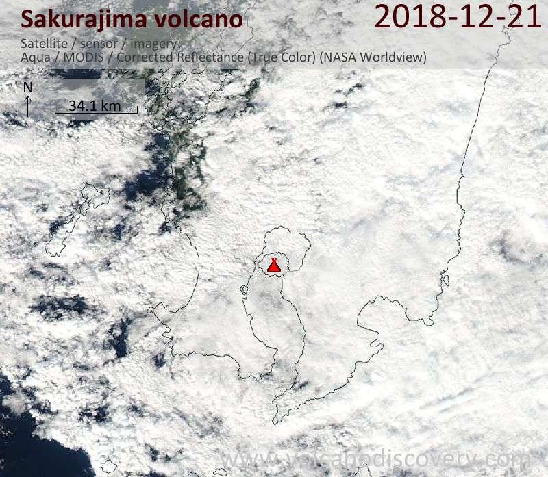 Satellite image of Sakurajima volcano on 22 Dec 2018