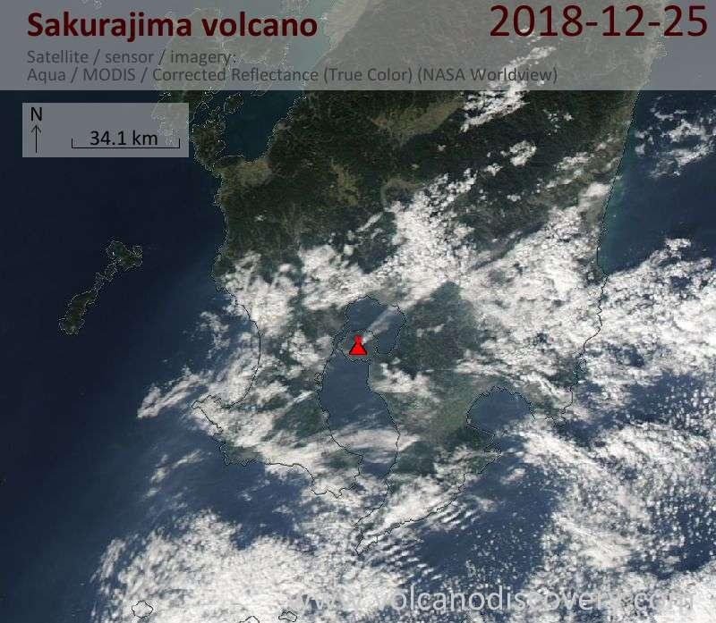 Satellite image of Sakurajima volcano on 25 Dec 2018