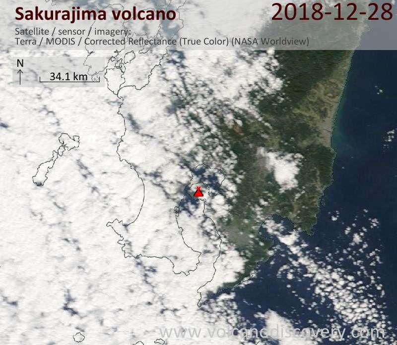 Satellite image of Sakurajima volcano on 28 Dec 2018