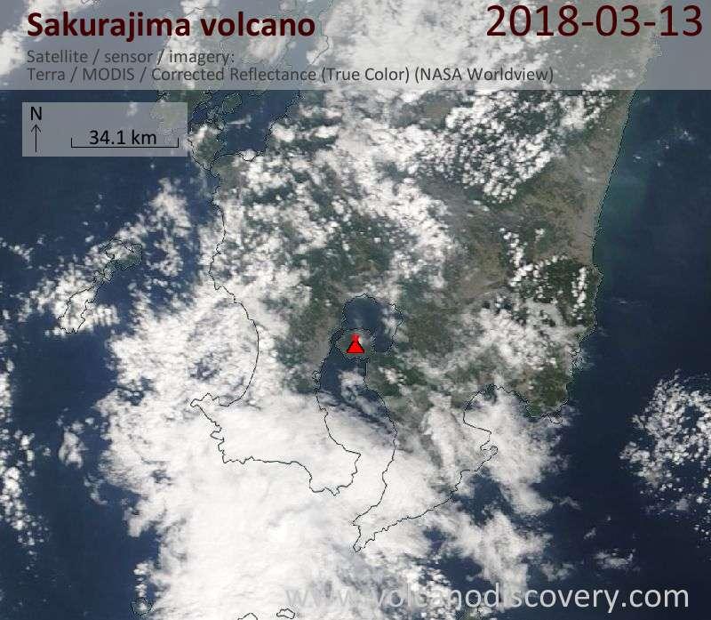 Satellite image of Sakurajima volcano on 13 Mar 2018